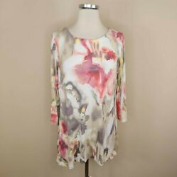 Belle by Kim Gravel Floral Stretch Knit Tunic Top Pullover S Small Women#x27;s $15.99