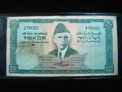 Pakistan 50 Rupees 1964 P17 Holes Sharp 5320 Bank Currency Money Banknote