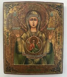 Rare Antique 19 C Hand Painted Russian Icon The Sign Of The Mother Of God