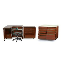 Wallaby And Dingo Sewing Machine Cabinet Studio Set- Teak Free Adorable Chair