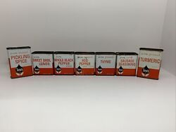 Lot Of 7 Vintage Tin Tone's Thyme, Pickling Spice, Turmeric, Pepper, Sausage