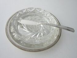 Antique Sterling Silver And Cut Glass Butter Dish - 1939 By Viners