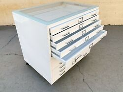 Vintage Flat File Double Stack Cabinet Table Refinished To Order With Glass