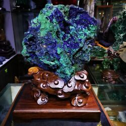 48lb Sparkling Blue Azurite Crystals On Green Malachite Mineral Specimen M1021