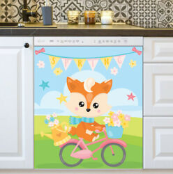 Kitchen Dishwasher Magnet - Cute Spring Fox On Bicycle