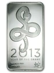 10 Oz Silver Bar - 2013 Year Of The Snake 999 Fine Silver