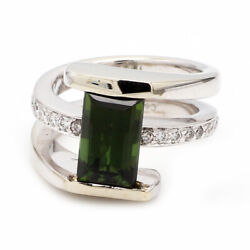 Coffin And Trout 18k Wg, Green Tourmaline And Diamond Nautilus Ring - Sz. 4.25