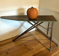 Antique Primitive Wooden Ironing Board Folding Works Well 53l X 15w X 31.5h