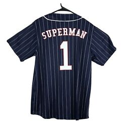 Dc Comics Superman Clark Kent Pinstriped Button Front Baseball Jersey Large