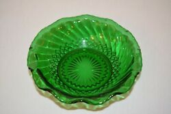 Vintage Forest Green Depression Glass 6.5 Bowl Scalloped Ruffled Flared