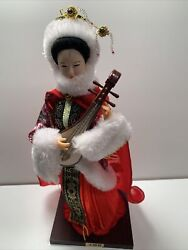 Chinese Doll Playing A Pipa Traditional Craft Hand Made