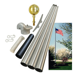 Global Flags Unlimited 204387 Commercial Grade Tapered Sectional Flagpole 20and039