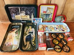 Lot Collectibles Advertising Coca Cola Coke Trays Tins Bottles