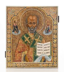 Rare Antique 19c Hand Painted Russian Orthodox Icon St. Nicolas In Gold
