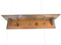 """Rustic Farm Country Handmade 24"""" Pine Wooden Wall Shelf With 3 Pegs And Groove"""