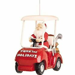 Santa Driving A Golf Cart Hanging Ornament, Fore The Holidays