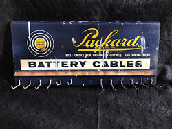Vintage Packard Battery Cable Display Rack Sign- Advertising Gas Oil Automobile