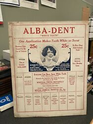 Antique Alba-dent Cardboard Advertising Counter Display General Store Stand-up