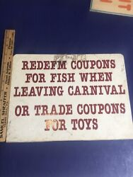 Vintage Arcade Carnival Midway Boardwalk Sign Redeem Coupons For Fish.