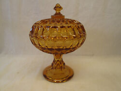 Fenton Thumbprint Amber Gold Covered Compote Pedestal Base Lidded Lid Candy Dish