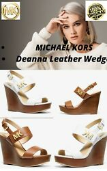 Michael Kors MK Women#x27;s Heels Deanna Leather Color: Luggage Wedge Sandals. S:7 $99.79