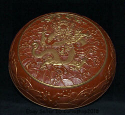 6 Qianlong Marked Chinese Lacquerware Red Porcelain Dynasty Dragon Jewelry Box