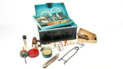Nice Selection Assorted Vintage Fishing Tackle In Black Japanned Tin Inc Hardy