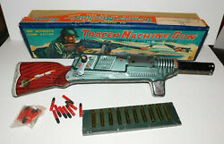 Neat Vintage Tin Litho Toy 20 Crank Tracer Machine Gun With Box Made In Japan