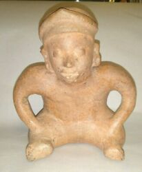 Pre-columbian Mayan Red Clay Large Seated Male Figure Colima C. 250 Bc - 250 Ad