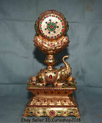 16.4unique Old China Copper 24k Gilt Gold Inlay Gem Animal Elephant Drum Statue