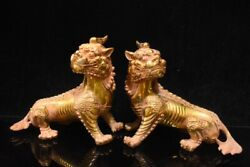 Old China Copper Gilding Handmade Carving Unicorn Ornaments
