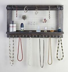 Hanging Jewelry Organizer   Wall Mounted Wooden Holder For Necklace Earrings...