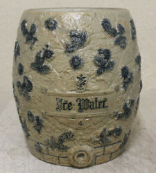 Antique Utica Ny Stoneware Ice Water Cooler Decorated Flowers 4 Gallon