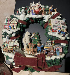 Rare Hawthorne Village Rudolph's Christmas Town Lighted Wreath Misfit Bumbles