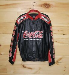 Nascar Coca Cola Racing Leather Jacket Bomber Black Red Embroidered Adult Xl