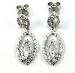 Natural Round Diamond Oval Cluster Drop Ladyand039s Earrings 18k White Gold 1.38ct