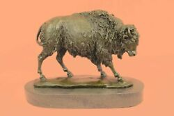 Standing Buffalo By Antoine Barye, Bronze Bison Sculpture Very Detailed Art Nr