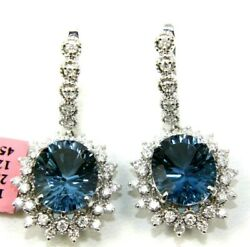 Natural Oval Blue Topaz And Diamond Drop Snap Earrings 14k Yellow Gold 14.20ct