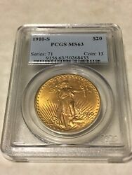 1910-s Ms63 Pcgs Saint Gaudens Double Eagle 20 Gold Coin Pq Great Appeal Obl