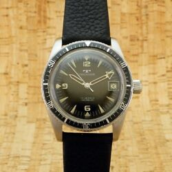 Technos Diver Ss Ref 969-4 Fhf96-4 Stainless Steel Manual Winding Watch Antique