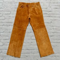 Vintage Suede Leather Western Bootcut Pants Jeans Size 34 Brown Big E