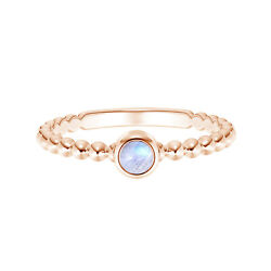 5 Mm Round Moonstone 9k Rose Gold Stackable Bezel Set Ring With Beaded Shank