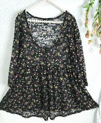 Torrid 2 Babydoll Top All Over Lace Black Floral Stretch Blouse Womens 1X 2X $28.04