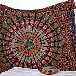 Indian Mandala Tapestry Indian Hippie Hippy Twin Size 85 x 55 Inch Red Green