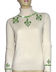 Luxe Oh` Dor 100 Cashmere Sweater Luxury White Peridot Green 34/36 Xs/s