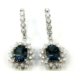 Oval London Blue Topaz And Diamond Drop Snap Earrings 14k White Gold 7.76ct