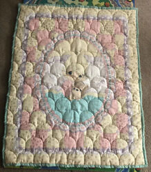 Vintage Precious Moments Baby Blanket Quilt Girl With Bear
