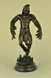 """Indian Native American Art Chief Eagle Bronze Large 18 By10"""" Very Detailed Artwo"""
