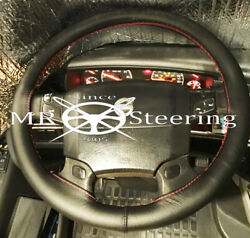 Fits Volvo Vnl 780 Truck Real Leather Steering Wheel Cover Red Double Stitching