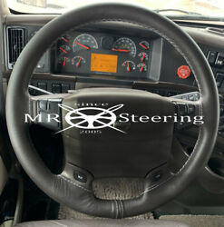 True Leather Steering Wheel Cover White Double Stitching For Truck Volvo Vnl 670